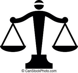 igazságosság, vektor, ikon, mérleg
