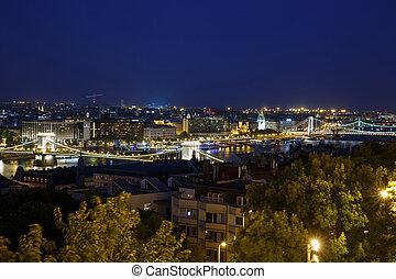 ight view of the city's bridges. Budapest. Hungary