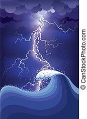 ightning, rain., ilustración, malla, océano, huelgas, vector, tormenta