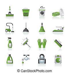 igiene, pulizia, icone
