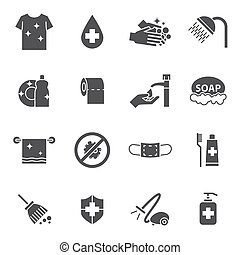 igiene, set, pulizia, icone