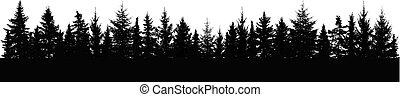 iglasty, panorama., drzewa, silhouette., las, horyzont, świerk