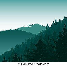 iglasty, sylwetka, góry, panorama, śnieg, drzewa., góry.