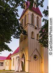 iglesia, árboles, jesús