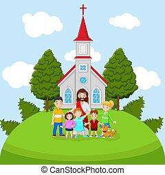 iglesia, caricatura, jesús, niños