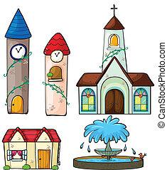 iglesia, casa, torre, fuente, reloj