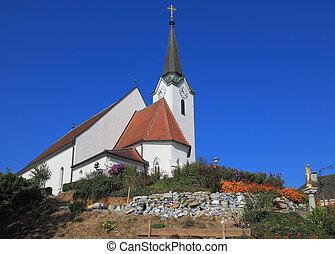 iglesia, claramente, mirada, elegante, contra, el, cielo