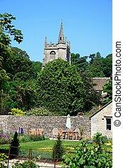 iglesia, combe., castillo, jardín