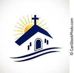 iglesia, con, sol, logotipo