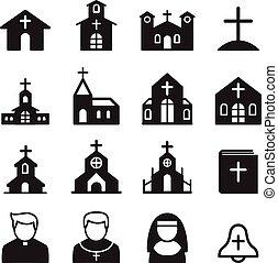 iglesia, conjunto, icono