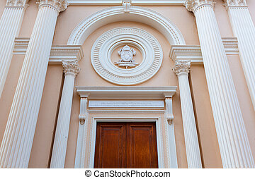 Iglesia de la Caridad of Cartagena church door facade at spain