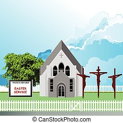 iglesia de la parroquia, pascua, servicio