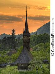 iglesia de madera, de, maramures, rumania