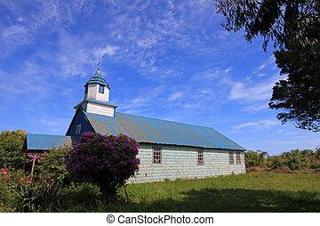 iglesia de madera, en, el, isla, de, chiloe, patagonia, chile