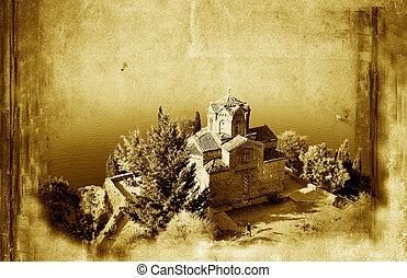 iglesia, de, st. john, en, kaneo, y, viejo, papel, grunge, plano de fondo