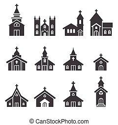 iglesia, edificio, icono
