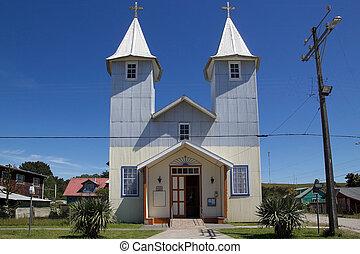 iglesia, en, chacao, aldea, chiloe, isla, chile
