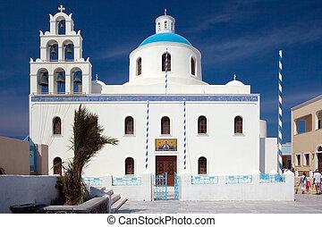 iglesia, en, isla, santorini, 2
