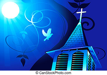 iglesia, en, luz de la luna