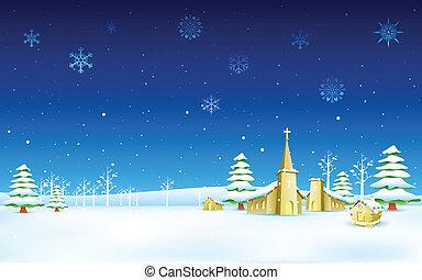 iglesia, en, navidad, noche