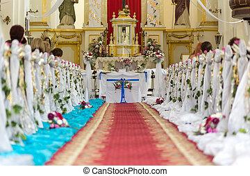 iglesia, es, listo, para, el, ceremonia boda