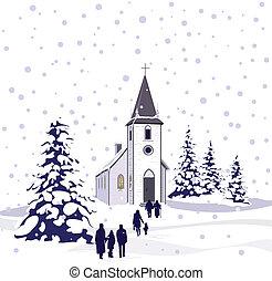 iglesia, escena, invierno
