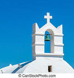 iglesia griega, campana, contra, cielo azul