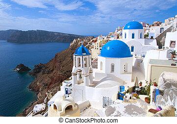 iglesia griega, en, isla de santorini
