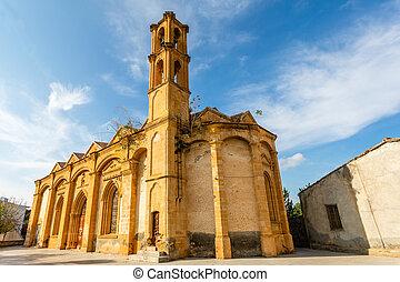 iglesia, griego, chipre, morphou, ortodox, norte, campanario...