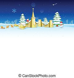 iglesia, navidad, noche