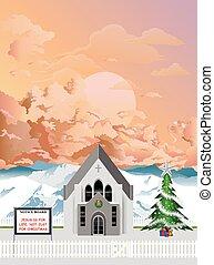 iglesia, navidad, parroquia, amanecer