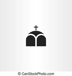 iglesia, o, capilla, cruz, icono