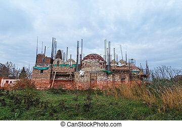 iglesia, ortodox, construcción, debajo