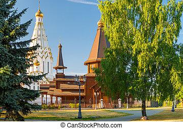 iglesia ortodoxa, de, todos, santos, en, minsk, en, ocaso