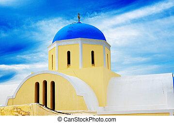 iglesia ortodoxa, en, isla de santorini, grecia