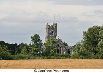 iglesia, parroquia, área, rural, inglés