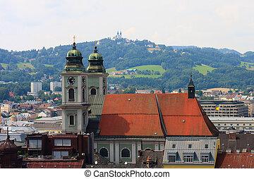 iglesia, p?stlingberg, linz, austria, vista