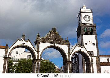 iglesia, puertas, ponta, reloj, cidade, portas, portugal.,...