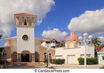 iglesia, puerto, morelos, méxico, riviera maya