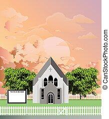 iglesia, tabla, aviso, amanecer, parroquia