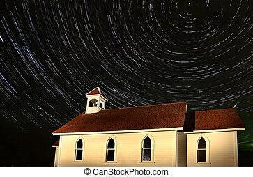 iglesia, tiro, noche