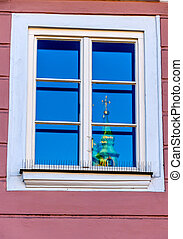 iglesia, torre, reflejado adentro, un, ventana