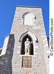 iglesia, torre, y, sculture