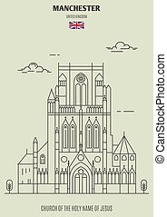 iglesia, uk., señal, santo, manchester, nombre, icono, jesús