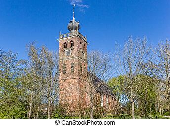 iglesia vieja, en, el, aldea, de, noordwolde
