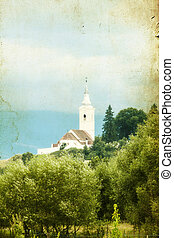 iglesia vieja, en, el, countryside.