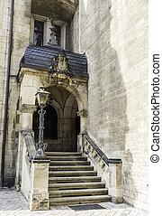 iglesia vieja, entrada, con, escaleras