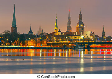 iglesia, vista, night., riga., peter, s.