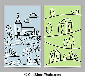 iglesia, y, aldea, tarjetas