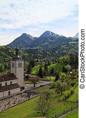 iglesia, y, alpes, montañas, gruyeres, suiza